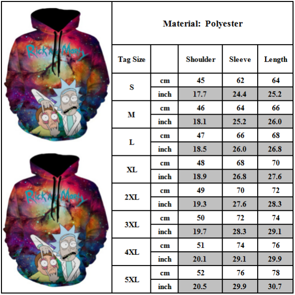Unisex 3D-tryckt Rick Morty Hoodie Sweatshirt Pullover Jumper