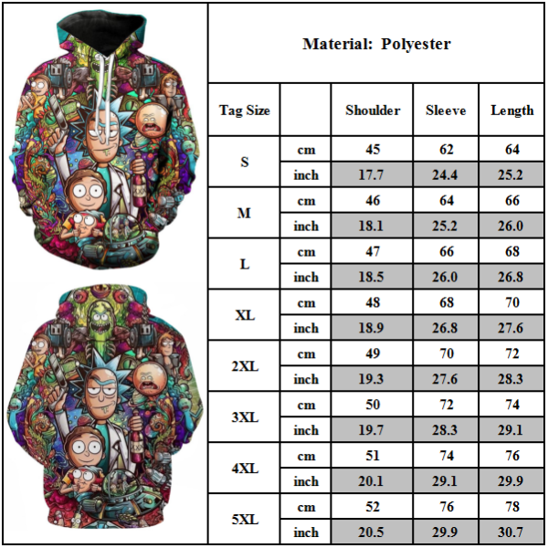 Unisex Rick and Morty 3D-tryckjul Hoodie Sweatshirt Toppar