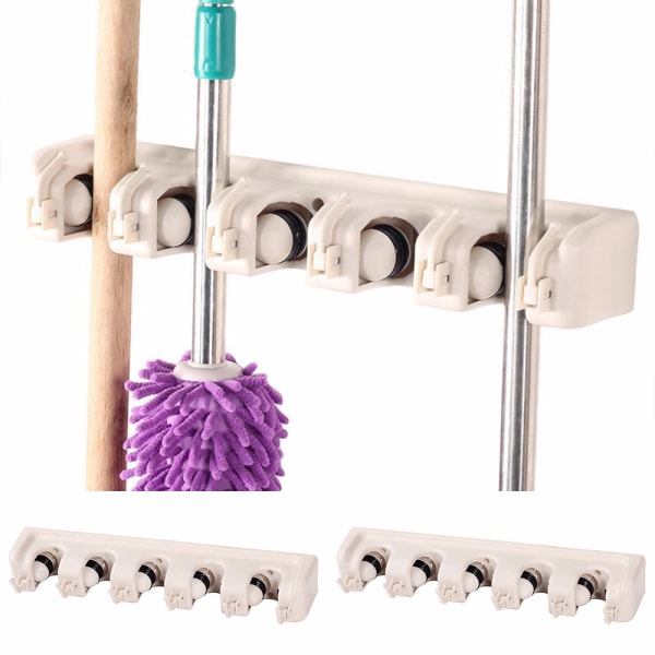 Väggmonterad 5 rack Köksförvaring Mop Rack Brush Broom Hanger