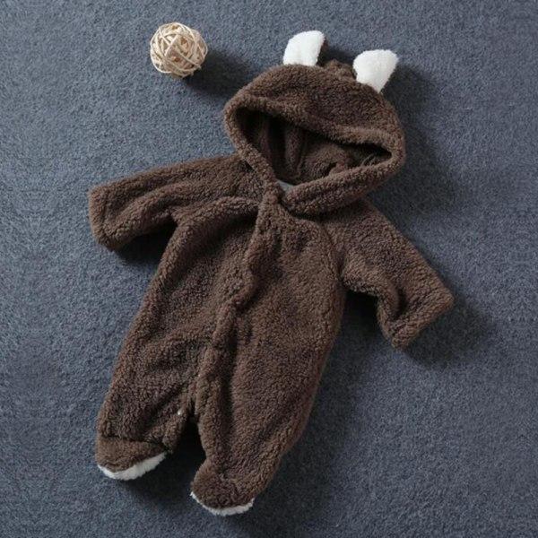 Vinterbarn Baby Romper Hooded Bear Jumpsuit Boy Girl Soft brown 0-3M