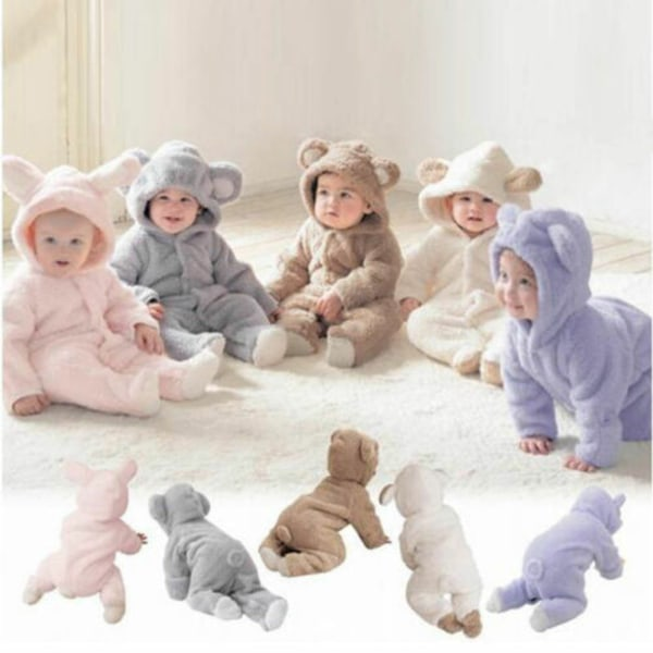 Vinterbarn Baby Romper Hooded Bear Jumpsuit Boy Girl Soft white 0-3M