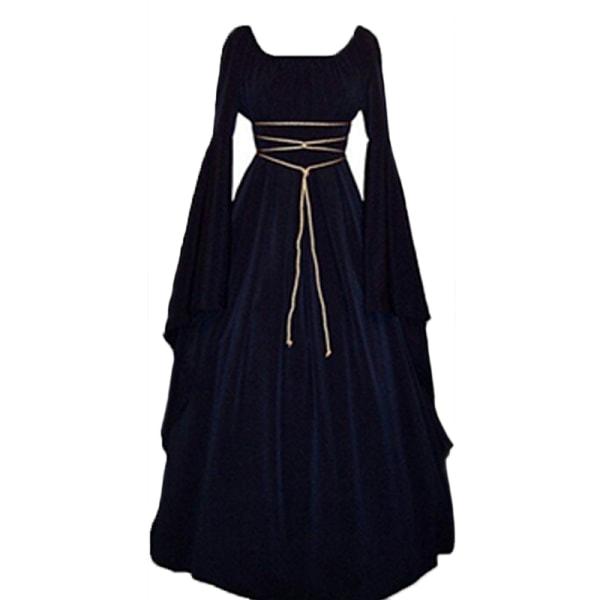 Kvinnor Maxiklänning Häxa Cosplay Kläder Halloween kostym navy blue XL