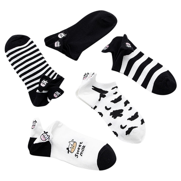 Dam Mode Svart Vit Ko Strumpor Bomull Randigt Mode Cows