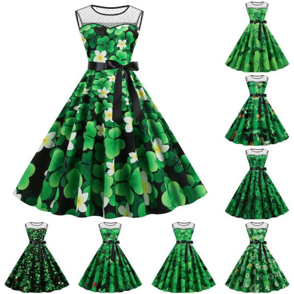 Damtryckt ärmlös fest A-linjeklänning St. Patrick's Day # 2 2XL