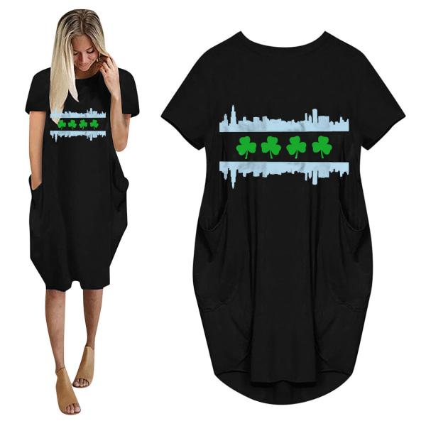 Kvinnors kortärmad, löstryckt klänning Casual tröja plus storlek Black M