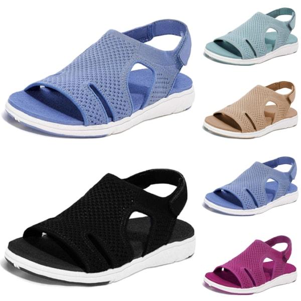 Kvinnors mjuka tå mesh övre sandaler gå korsband skor Black 37