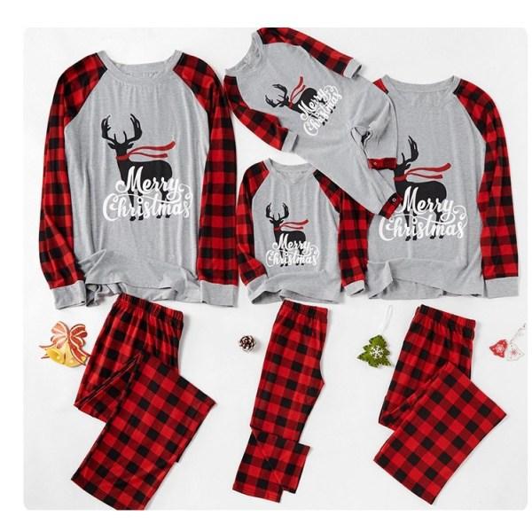 Xmas Festival Familj Barn Kvinnor Män Pläd Nattkläder Pyjamasdräkt mom M