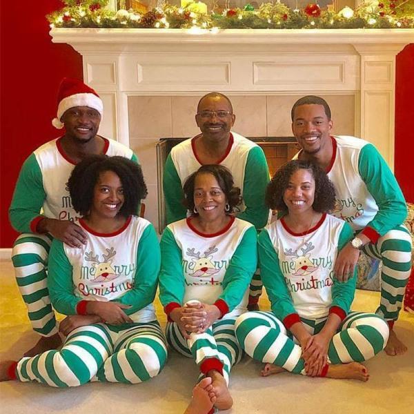 Xmas PJs Family Matching Pyjamas Nightwear för vuxna Green&White M