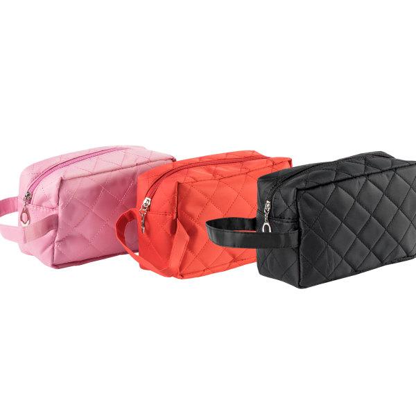 Rosa necessär med praktiskt handtag i quiltad stil rosa 21x13x7 cm