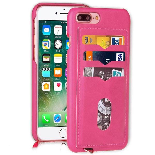 iPhone 7 Plus - Stilrent Skal med Korthållare (LEMAN) Rosaröd