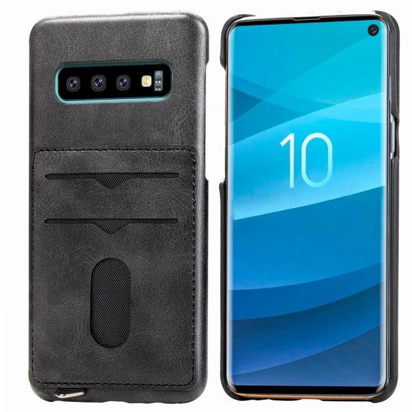 Praktiskt Skal med Korthållare (LEMAN) - Samsung Galaxy S10+ Mörkbrun