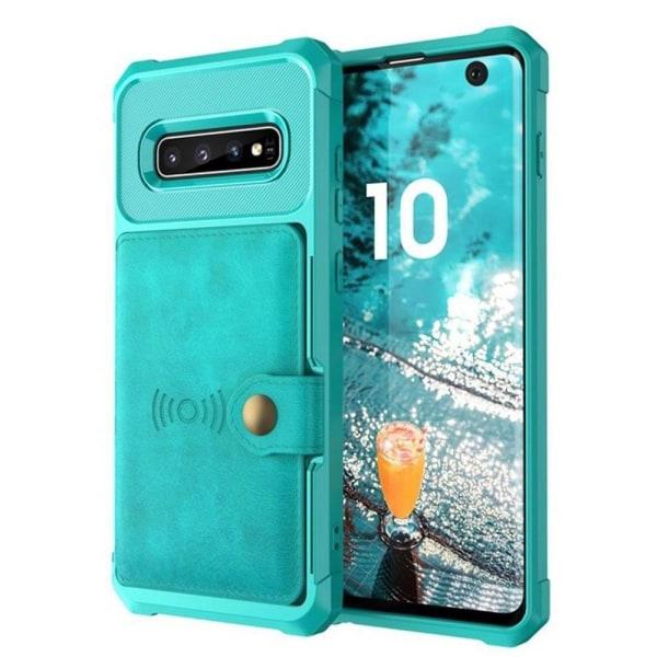 Professionellt Skal med Kortfack - Samsung Galaxy S10+ Grön