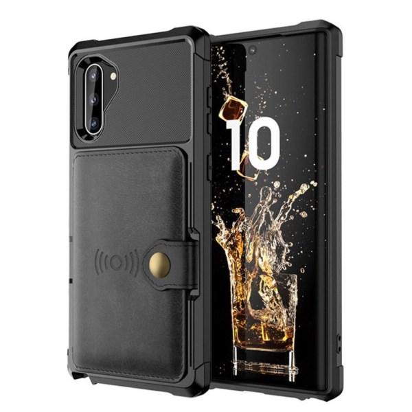 Professionellt Skyddsskal med Kortfack - Samsung Galaxy Note10 Brun