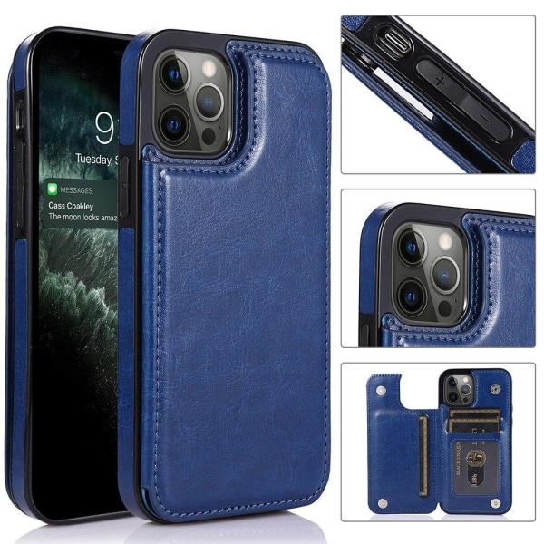 iPhone 12 Pro Max - Praktiskt Skyddande Skal med Korthållare Svart