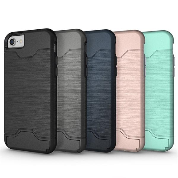 iPhone 8 - Praktiskt Elegant Skal med Kortfack Roséguld