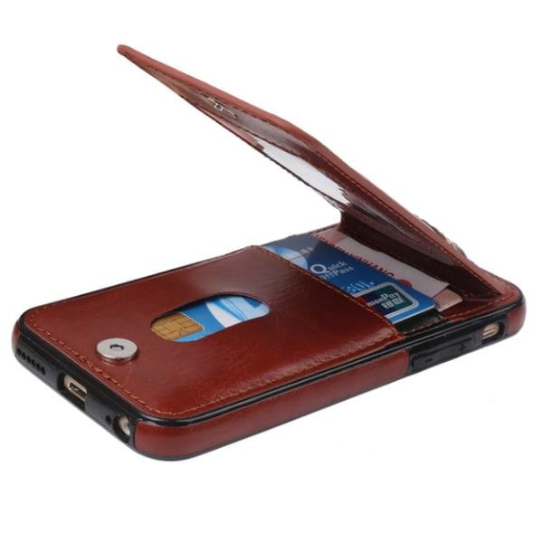 iPhone 7 PLUS - Stilrent Läderskal med Plånbok/Kortfack Blå