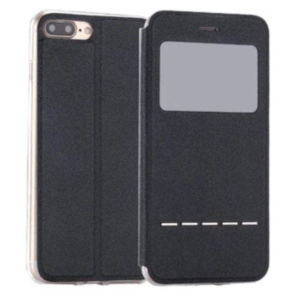 iPhone 8 Stilsäkert Robust Smartfodral Fönster & Svarsfunktion Svart