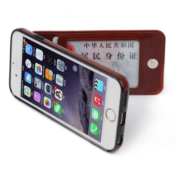 iPhone 7 PLUS - Elegant Praktiskt Läderskal med Plånbok/Kortfack Rosaröd