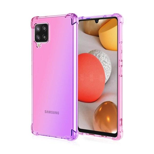Samsung Galaxy A12 - Elegant Stötdämpande Floveme Silikonskal Blå/Rosa