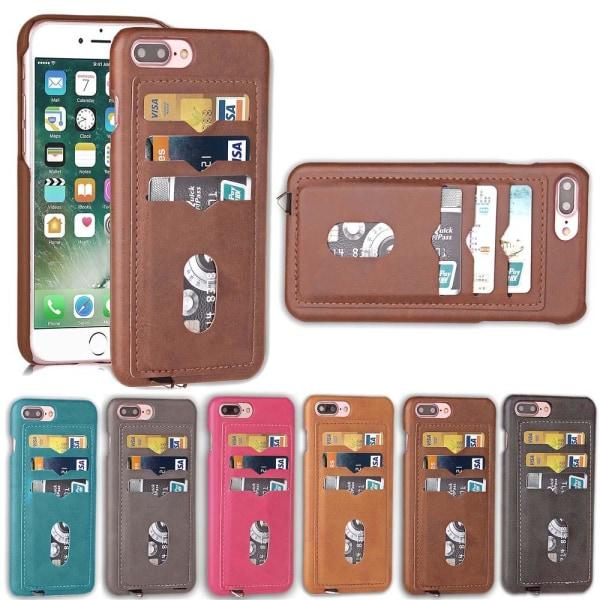 NYHET! Skal med Korthållare för iPhone 8 Plus (Vintage-Mark) Mörkbrun