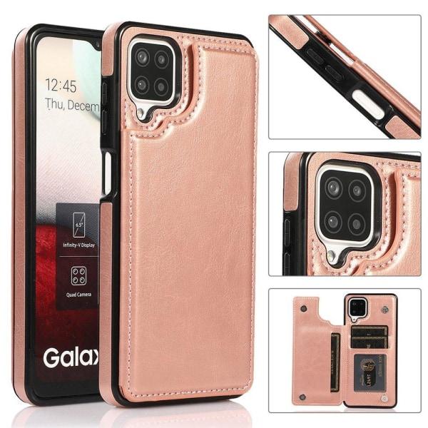 Samsung Galaxy A12 - Elegant Praktiskt Skal med Korthållare Röd