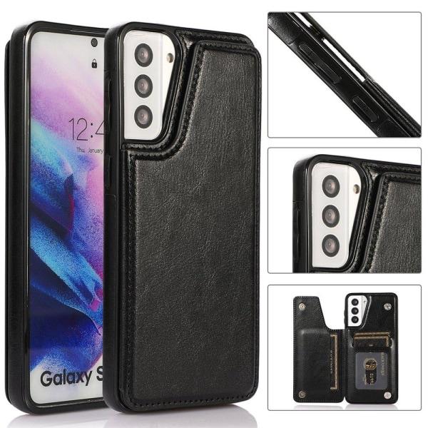 Samsung Galaxy S21 Plus - Skyddande Smidigt Skal med Korthållare Vit