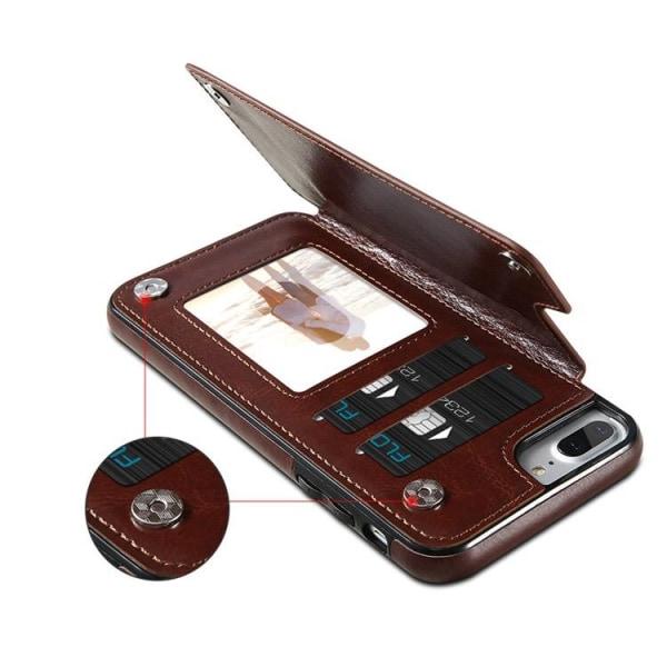 iPhone 8 Plus - Smart Läderskal med Plånbok/Kortfack NKOBEE Svart