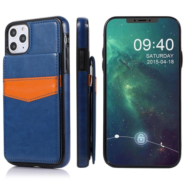 iPhone 12 Pro - Smidigt Effektfullt LEMAN Skal med Korthållare Mörkblå