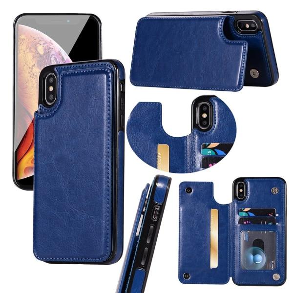 Läderskal med Plånbok/Kortfack till iPhone XR Roséguld