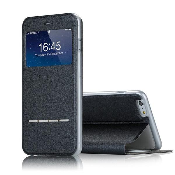 iPhone 6/6S  Smartfodral med fönster och svarsfunktion, SVART