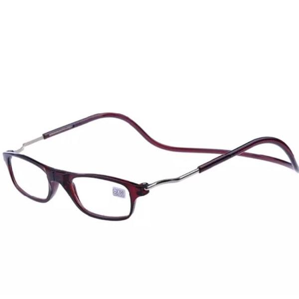 Justerbara Läsglasögon (Magnet) Vinröd 1.5