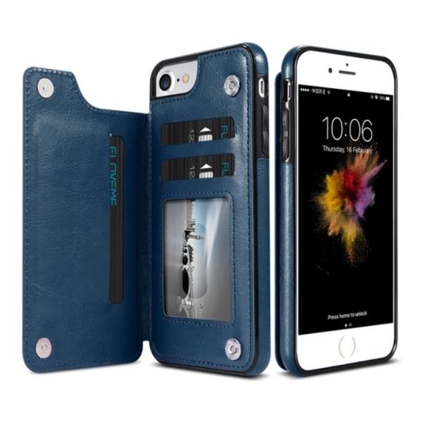 iPhone 6/6S Plus - Läderskal med Plånbok/Kortfack (NKOBEE) Blå