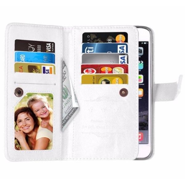 Elegant Praktiskt 9-korts Plånboksfodral iPhone 8 PLUS FLOVEME Röd