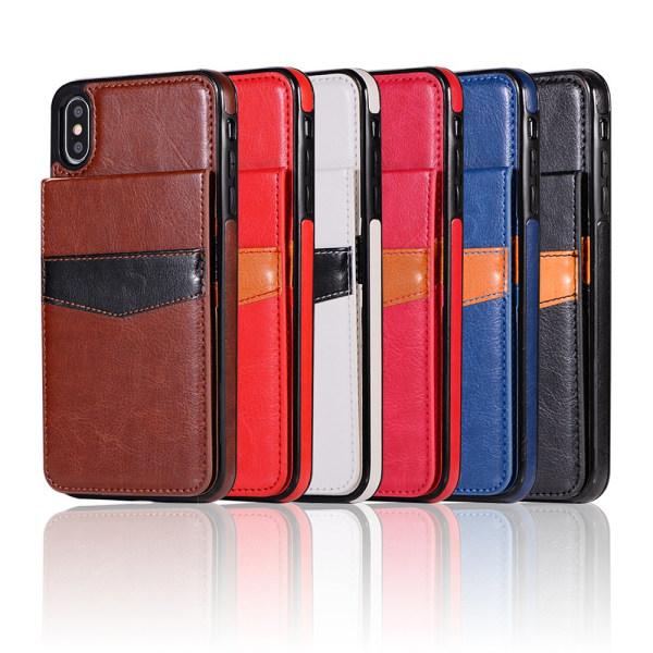 Läderskal med Plånbok och Kortfack till iPhone XR Svart