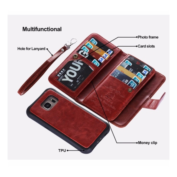 Samsung S6 Edge PLUS - LEMANS Stilrena Plånboksfodral i LÄDER Röd