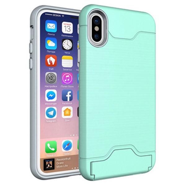 Elegant Skyddande Skal med Kortfack - iPhone XR Grön