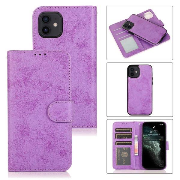 iPhone 12 Mini - Stilsäkert Praktiskt Dubbelfunktion Plånboksfod Lila