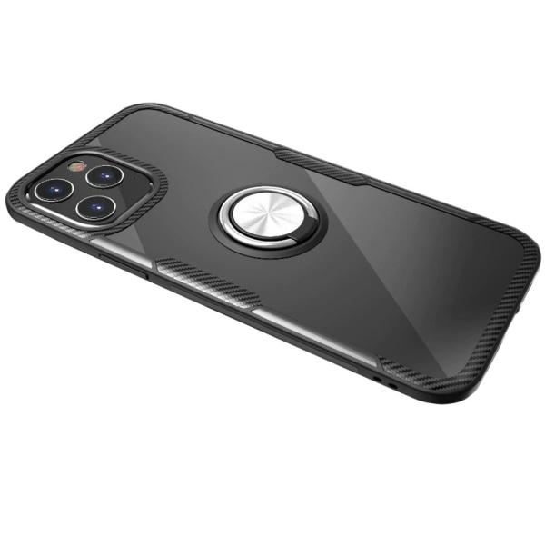 iPhone 12 Pro Max - Effektfullt Skal med Ringhållare (LEMAN) Marinblå/Silver