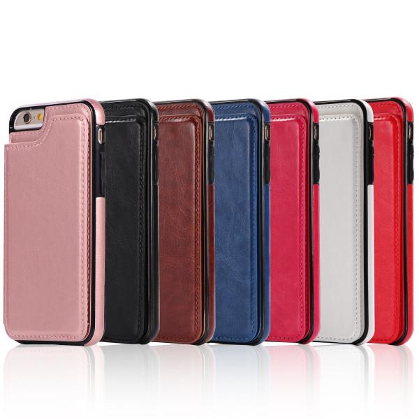 iPhone 6/6S Plus - NKOBEE Läderskal med Plånbok/Kortfack Röd