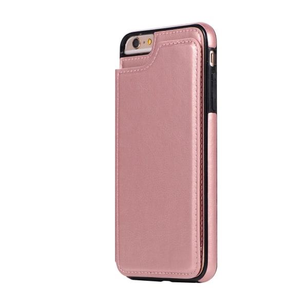 iPhone 6/6S Plus - NKOBEE Läderskal med Plånbok/Kortfack Roséguld