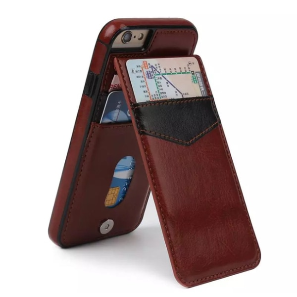 iPhone 7 - Stilrent Läderskal med Plånbok/Kortfack Svart