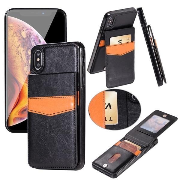 iPhone XR - LEMAN Läderskal med Plånbok/Kortfack Svart