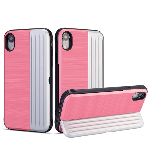 Elegant Skal med kortfack till iPhone XR Rosa
