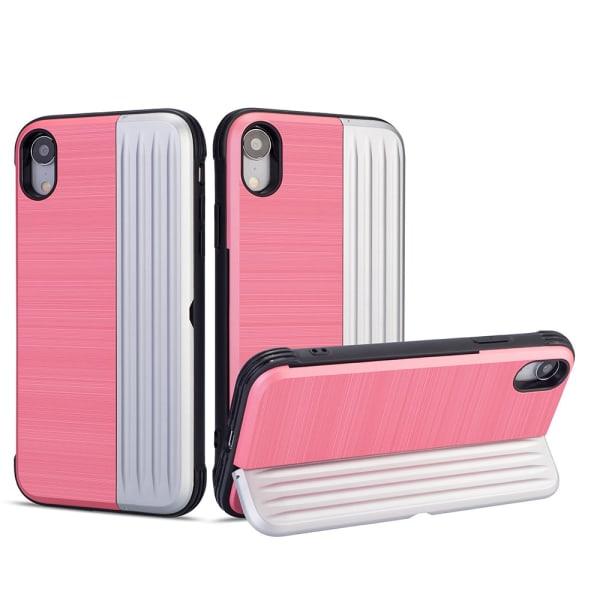 Klassiskt Skal med korthållare från LEMAN - iPhone XR Rosa