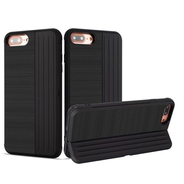 Klassiskt Skal med korthållare från LEMAN - iPhone 7 Plus Röd