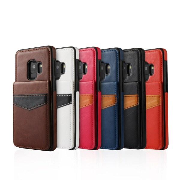 Läderskal med Plånbok/Kortfack till Samsung Galaxy S9 Svart