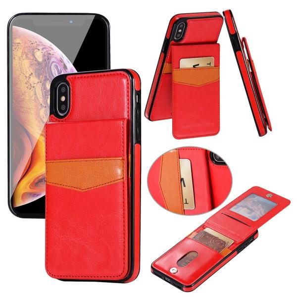 Läderskal med Plånbok och Kortfack till iPhone XR Röd