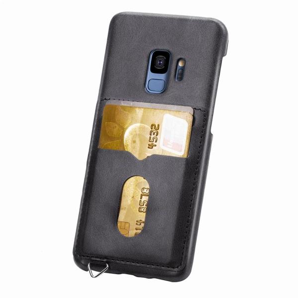 NYHET! Skal med Korthållare - Samsung Galaxy S9 (Vintage-Mark) Svart Svart