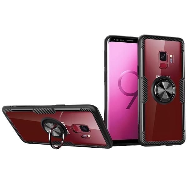 Samsung Galaxy S9 - Skal med Ringhållare (LEMAN) Svart/Svart