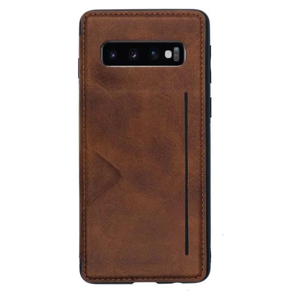 Samsung Galaxy S10 Plus - Praktiskt Skyddande Skal Kortfack Brun
